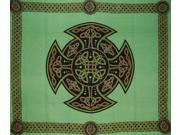 Celtic Cross Tapestry Wall Hang Bedspread Many Uses Green