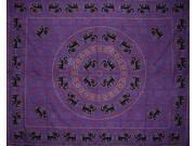 Mandala Elephant Tapestry Bedspread Coverlet Many Uses Purple