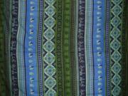 Indian Print Tapestry Spread Horses & Maidens Blue & Green