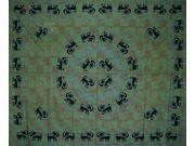 Mandala Elephant Tapestry Bedspread Coverlet Many Uses Green