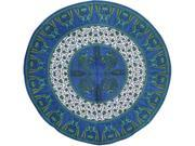 "Floral Peacock Round Printed Tablecloth 72"" Cotton Blue"