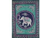 "Lucky Batik Elephant Cotton Tapestry or Spread 102"" x 70"" Turquoise"