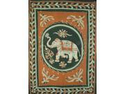 "Lucky Batik Elephant Cotton Tapestry or Spread 108"" x 88"" Brown"
