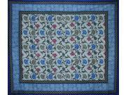 "Mediterranean Cotton Floral Spread Many Uses 106"" x 88"" Blue"