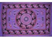 Mandala Elephant Wall Hang or Throw Spread 85 x 55 Purple