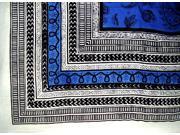 Art Deco Paisley Print Heavy Cotton Spread 94 x 82 Blue
