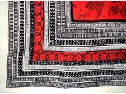 Art Deco Paisley Print Heavy Cotton Spread 94 x 82 Red