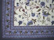 Floral Print Tapestry Cotton Spread Multiple Uses 104 x 72 Dark Blue