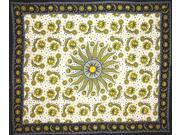 Cotton Celestial Tapestry Throw Coverlet 106 x 88 Green-Black