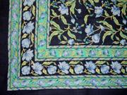 French Floral Cotton Tapestry or Spread Many Uses Blue on Black