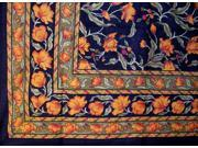 French Floral Cotton Tapestry or Spread Many Uses Amber on Black