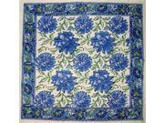Lotus Flower Hand Block Print Napkin Table Linen Cotton Blue