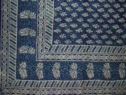 Hand Block Printed Tapestry or Spread Many Uses Blue