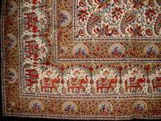 Block Print Floral & Paisley Indian Tapestry Bedspread Blue Twin