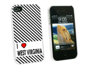 I Love Heart West Virginia - Snap On Hard Protective Case for Apple iPhone 4 4S - White