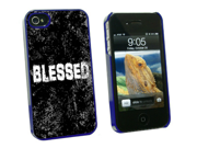 Blessed Distressed - Christian Religious Inspirational - Snap On Hard Protective Case for Apple iPhone 4 4S - Blue