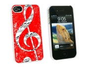 Vintage Treble Clef Music Red - Snap On Hard Protective Case for Apple iPhone 4 4S - White