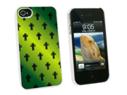 Crosses on Parade Christian Green - Snap On Hard Protective Case for Apple iPhone 4 4S - White