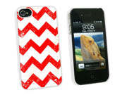 Vintage Chevrons Red - Snap On Hard Protective Case for Apple iPhone 4 4S - White