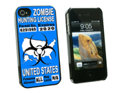 United States Zombie Hunting License Blue Permit - Snap On Hard Protective Case for Apple iPhone 4 4S - Black