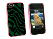 Zebra Print Green - Snap On Hard Protective Case for Apple iPhone 4 4S - Pink