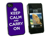 Keep Calm and Carry On Purple - Snap On Hard Protective Case for Apple iPhone 4 4S - Black