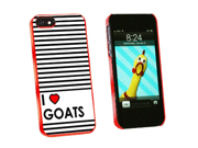 I Love Heart Goats - Snap On Hard Protective Case for Apple iPhone 5 - Red
