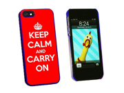Keep Calm and Carry On Red - Snap On Hard Protective Case for Apple iPhone 5 - Blue