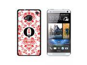 Letter Q Initial Damask Elegant Red Black White - Snap On Hard Protective Case for HTC One 1 - Black