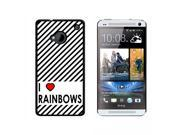 I Love Heart Rainbows - Snap On Hard Protective Case for HTC One 1 - Black