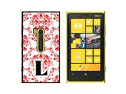 Letter L Initial Damask Elegant Red Black White - Snap On Hard Protective Case for Nokia Lumia 920