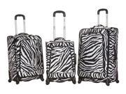 Rockland Fusion Collection Spinner 3-Piece Luggage Set - Zebra