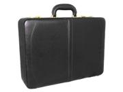 Austin Executive Leather Expandable Attache Case - Black