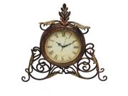 Athena Metal Scroll Antique Finish Table Desk Clock