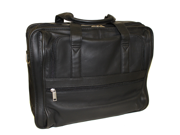 """Genuine Leather 16"""" Expandable Soft Business Briefcase - Black"""