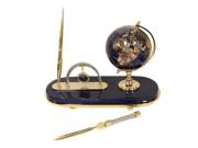 Executive Handcrafted  Gemstone Globe Desk Pen Set - Gift Set - Lapis Blue