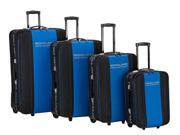 Rockland Polo Equipment 4-Pc Luggage Set - Navy Blue & Black Combination