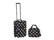 Rockland Rio Upright Carry-On & Tote 2-Piece Luggage Set - Black Dot