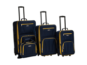 Rockland Deluxe Expandable 4-Piece Luggage Set - Navy