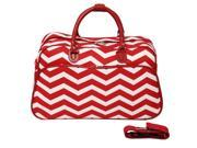 All-Seasons ZigZag 21-inch Carry-On Shoulder Tote Duffel Bag - Red Cream