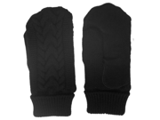 Isotoner Womens Black Cuffed Cable Knit Mittens Fleece & Thinsulate Lined