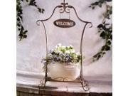 Decorative Metal Plant Stand With Welcome Sign