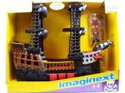 Fisher Price Imaginext Large Black & Red Pirate Ship with 2 Figures Playset