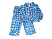 Disney Mickey Mouse Toddler Boys Blue Flannel Plaid Pajamas Sleepwear Set PJs 4T