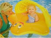 Swim Ways Sun Canopy Baby Yellow Star Fish Boat Style Infant Pool Float