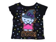 Infant & Toddler Girls Black Hello Kitty Halloween Shirt Witch Cat T-Shirt