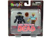 The Walking Dead Riot Gear Rick & Guard Zombie Minimates Set Of 2 Mini Figures