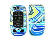Cell Armor Snap-On Cover for Samsung U660 - Blue/Green Zebra Print