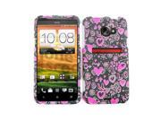 Cell Armor Snap-On Case for HTC Evo LTE - Pink Hearts on Black