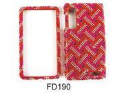 Snap-on Protector Case for Motorola Droid 3 (Full Diamond Crystal/Red/White Weave Pattern)